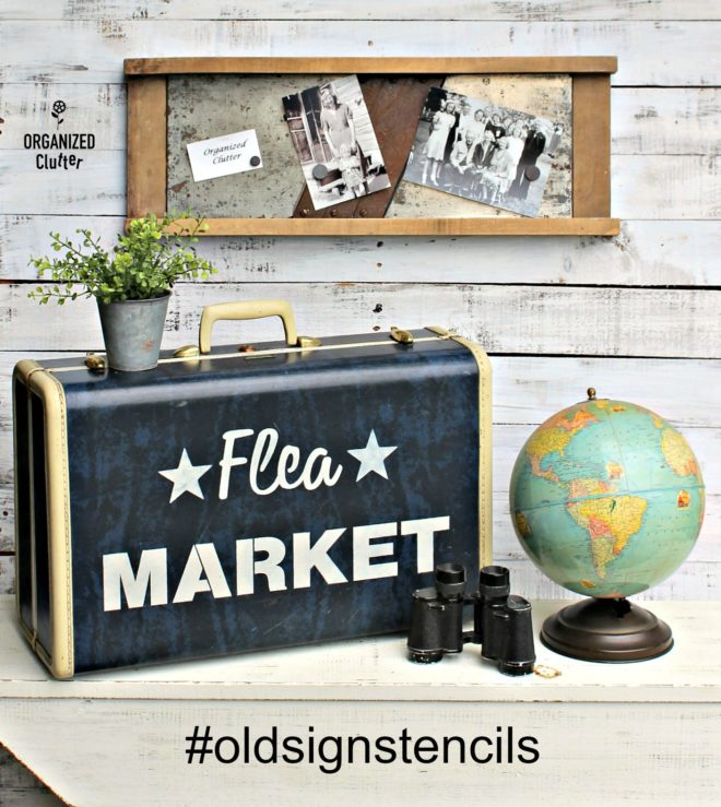 Flea Market painted vintage suitcase chalkboard style by Organized Clutter with Funky Junk's Old Sign Stencils