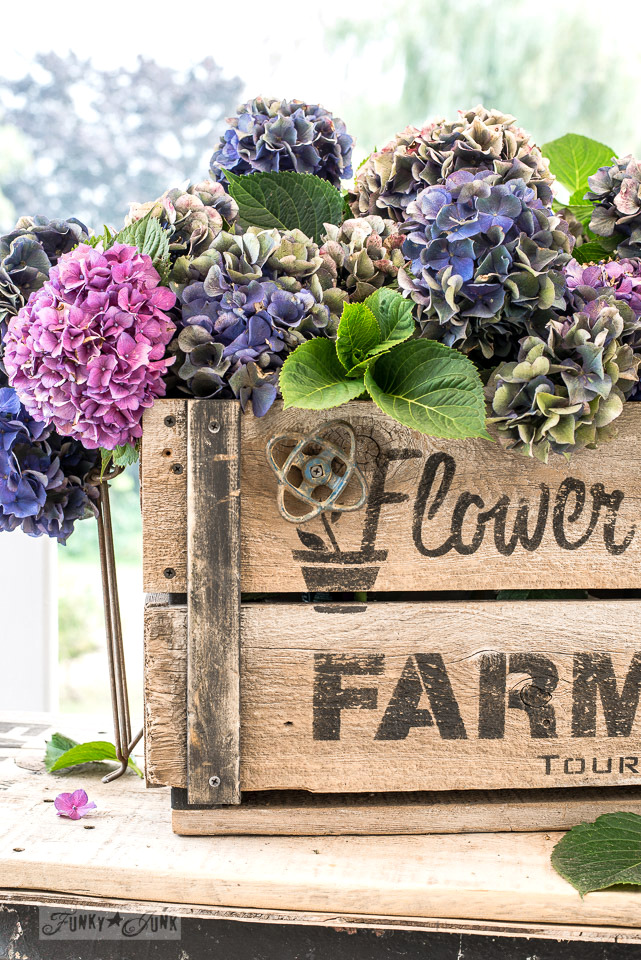 Hydrangea filled rustic DIY Flower Farm crate, with Funky Junk's Old Sign Stencils