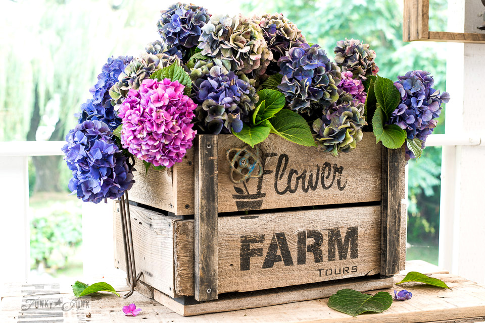 Hydrangea filled rustic DIY Flower Farm crate with signs made from Funky Junk's Old Sign Stencils