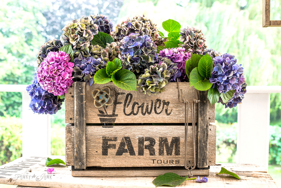 Hydrangea filled rustic DIY farmhouse Flower Farm crate, with Funky Junk's Old Sign Stencils