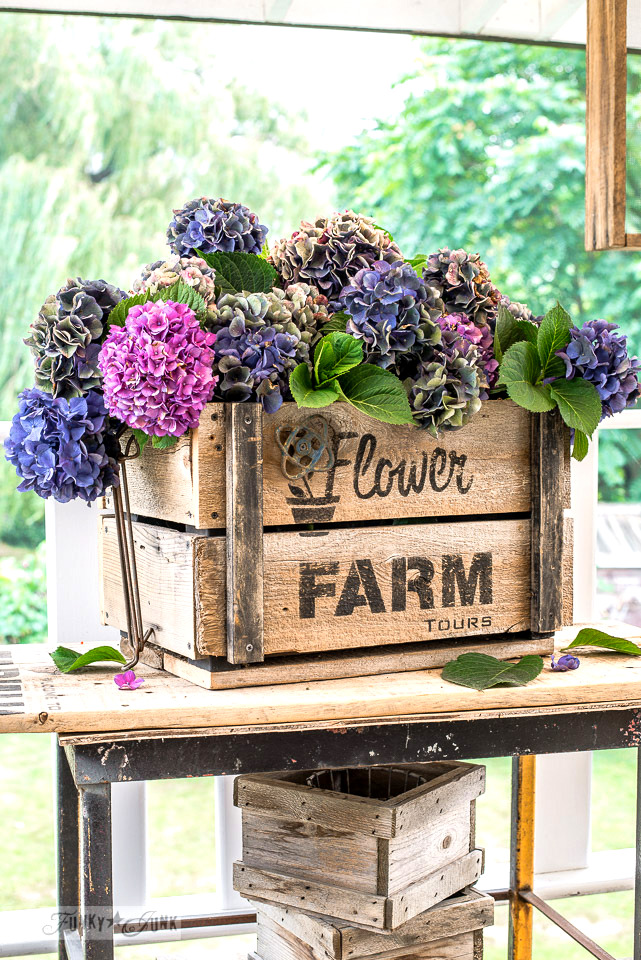 Make this Hydrangea filled rustic DIY Flower Farm crate, with Funky Junk's Old Sign Stencils
