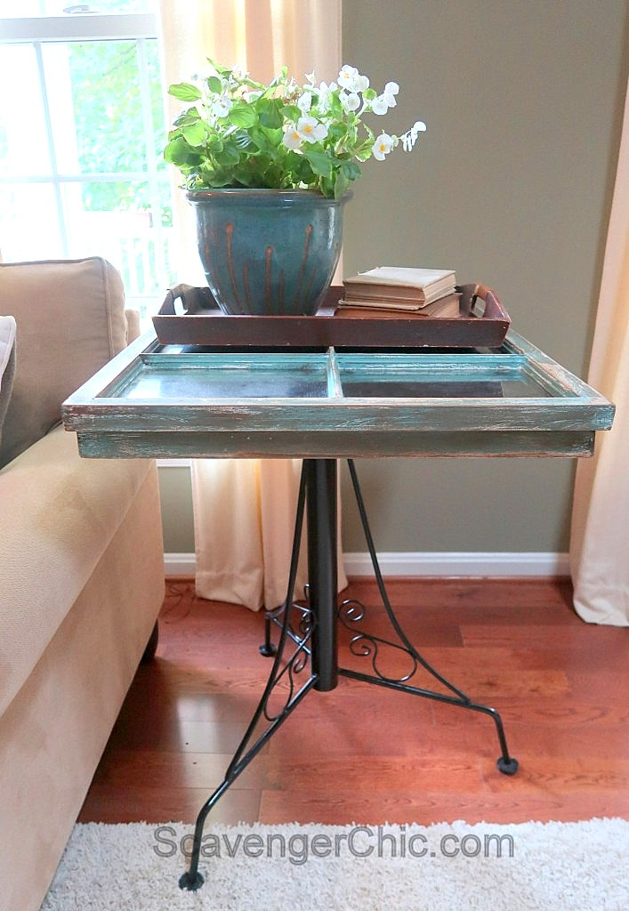 Vintage window side table by Scavenger Chic, featured on Funky Junk Interiors