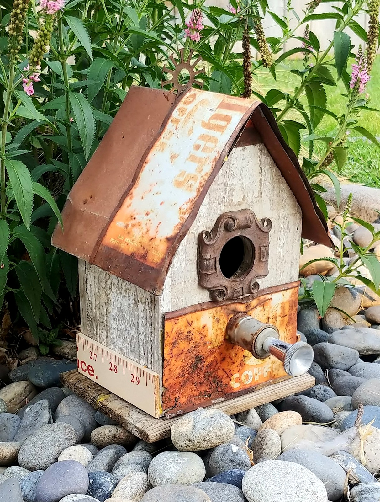 Junk styled bird houses by Little Vintage Cottage, featured on Funky Junk Interiors