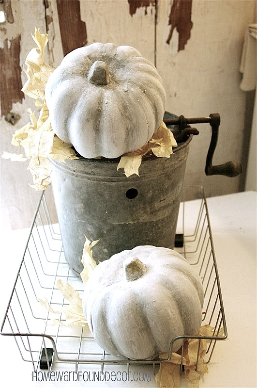 Concrete fall pumpkin technique with simple ingredients by Homeward Found, featured on Funky Junk Interiors