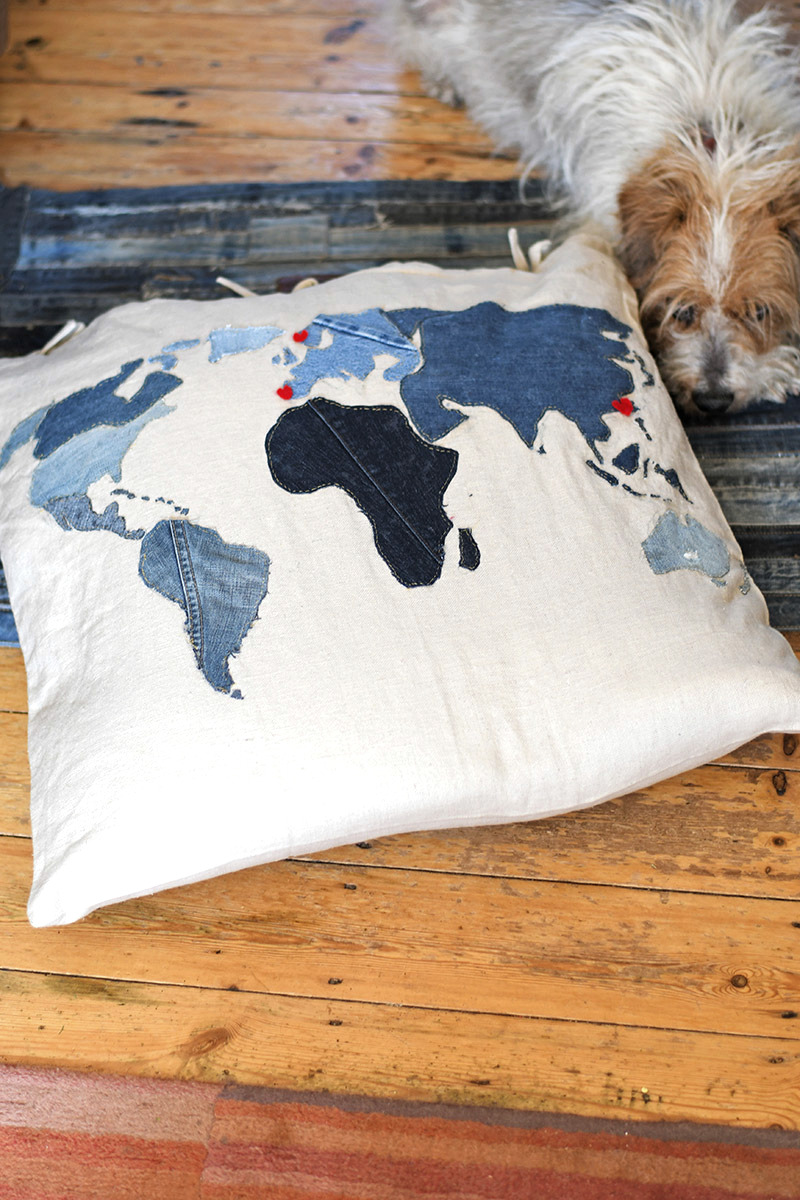 denim world map floor cushions by Pillar Box Blue, featured on Funky Junk Interiors