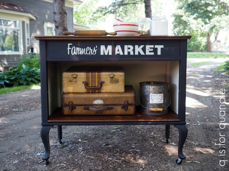 Farmers' Market themed kitchen island dresser by Q is for Quandie, featured on Funky Junk Interiors