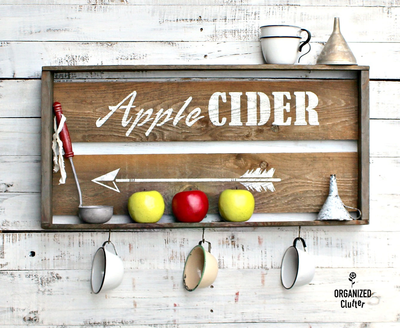 Stenciled fall Apple Cider crate shelf by Organized Clutter, featured on Funky Junk Interiors