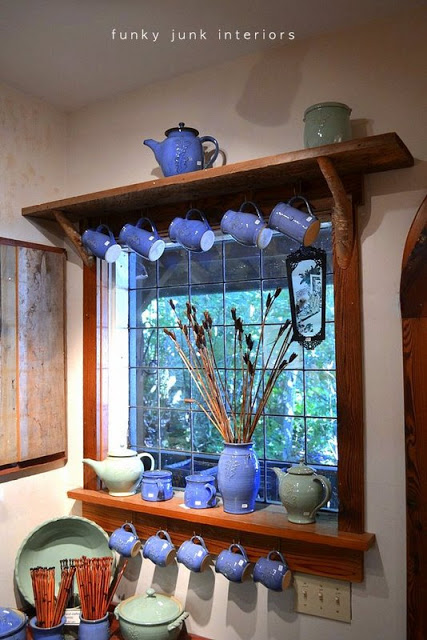 Branch window shelf showcasing pottery for sale at The Back Porch in Harrison Hot Springs BC