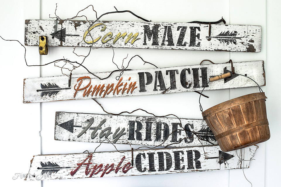 How to stencil shadows on rustic fall directional signs - Corn Maze, Pumpkin Patch, Hay Rides, Apple Sider rustic fall signs with Funky Junk's Old Sign Stencils