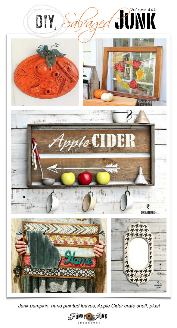 DIY Salvaged Junk Projects 444 - rusty metal junk pumpkin, hand painted leaves, Apple Cider crate shelf, plus! Features and NEW projects!
