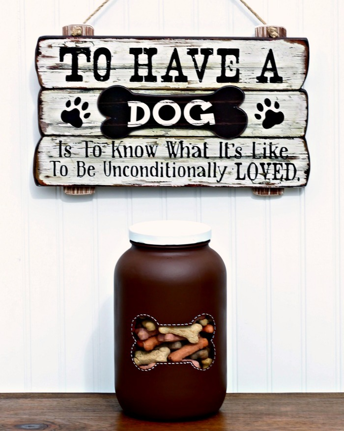Dog bone treats storage jar with window by Knick of Time, featured on Funky Junk Interiors