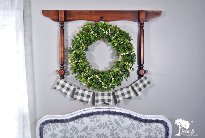 Mirror harp wall wreath by Lora B, featured on Funky Junk Interiors