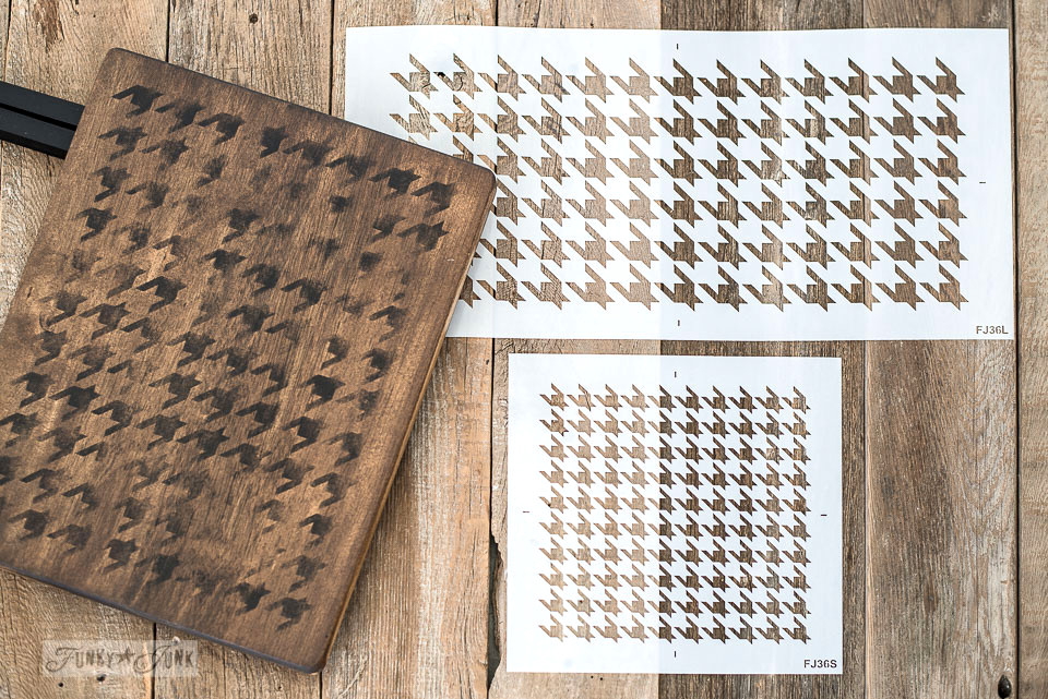 Learn how to DIY a houndstooth TV tray using a stencil! Quick and easy TV tray revamp with a rustic touch! Click to read full tutorial including a helpful how-to video! With Funky Junk's Old Sign Stencils.