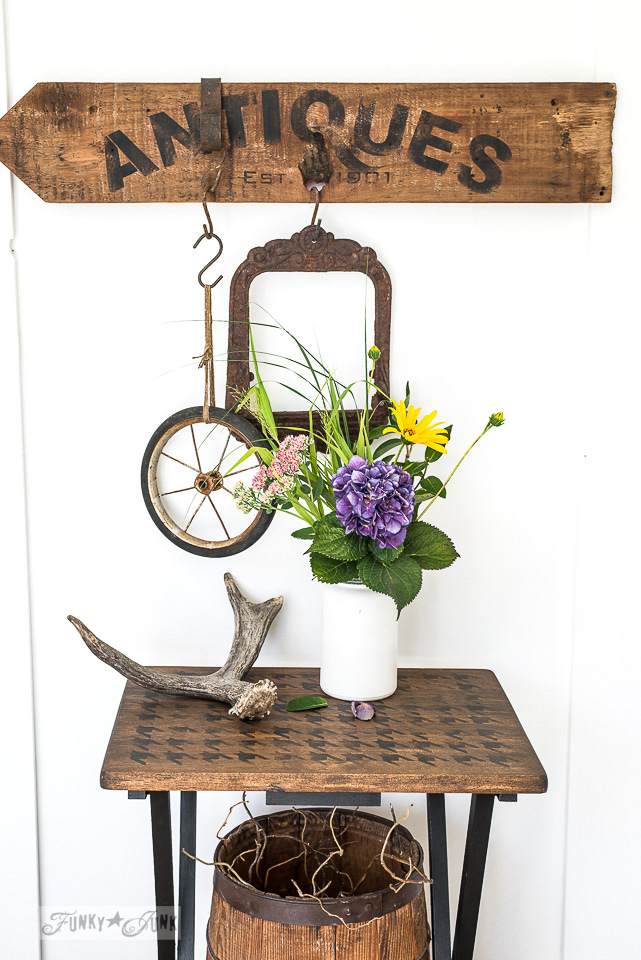 Rustic farmhouse style Houndstooth tray makeover and Antiques sign with Funky Junk's Old Sign Stencils and Fusion Mineral Paint