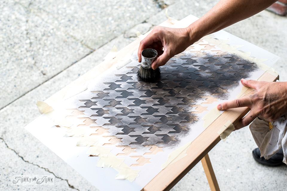 Stenciling a TV tray with the Houndstooth stencil from Funky Junk's Old Sign Stencils