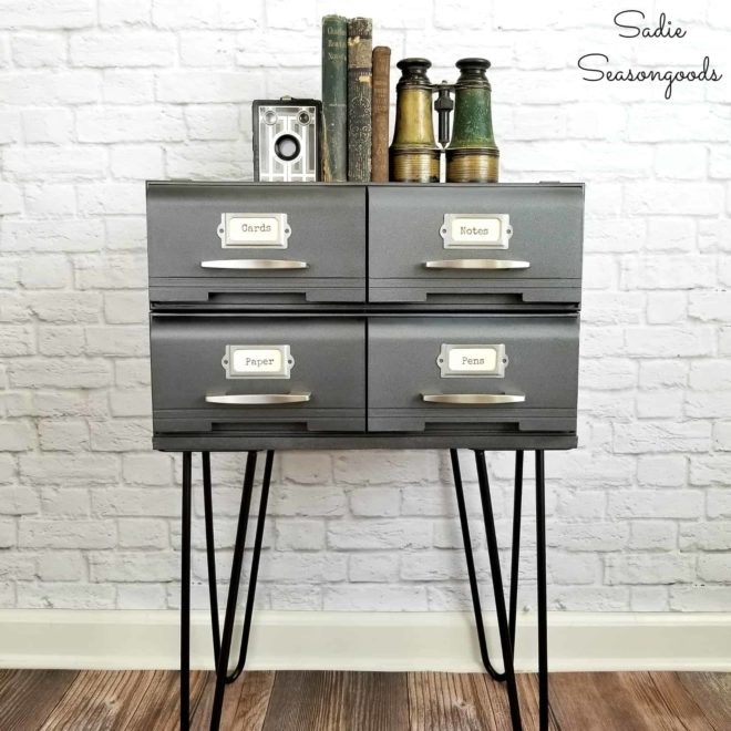Tape drawers turned card catalog by Sadie Seasongoods, featured on Funky Junk Interiors
