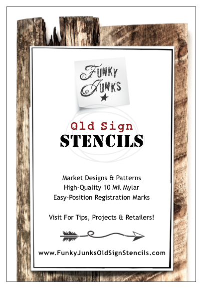 New label for Funky Junk's Old Sign Stencils