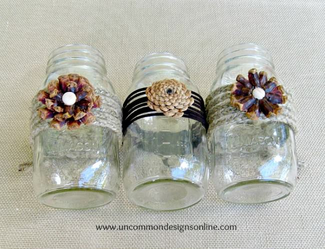 Pine cone mason jar flowers by Uncommon Designs, featured on Funky Junk Interiors