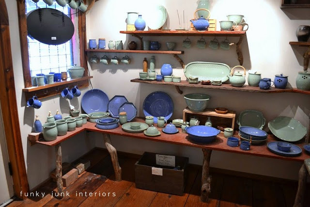 Pottery for sale on branch shelves at The Back Porch in Harrison Hot Springs BC