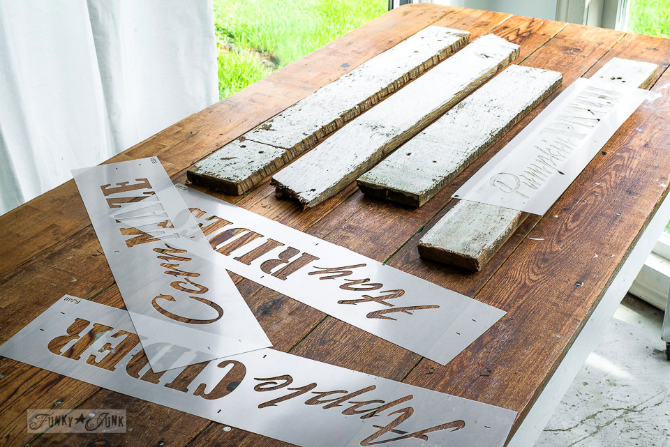 Preparing reclaimed chippy white wood for fall signs with Funky Junk's Old Sign Stencils-001