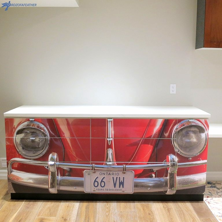 Kitchen cabinet turned VW desk by Birdz of a Feather, featured on Funky Junk Interiors