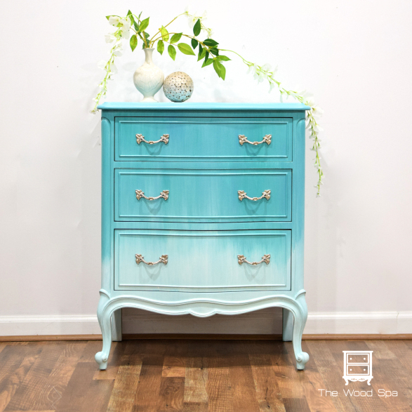 Ombre painted dresser with video by The Wood Spa, featured on Funky Junk Interiors