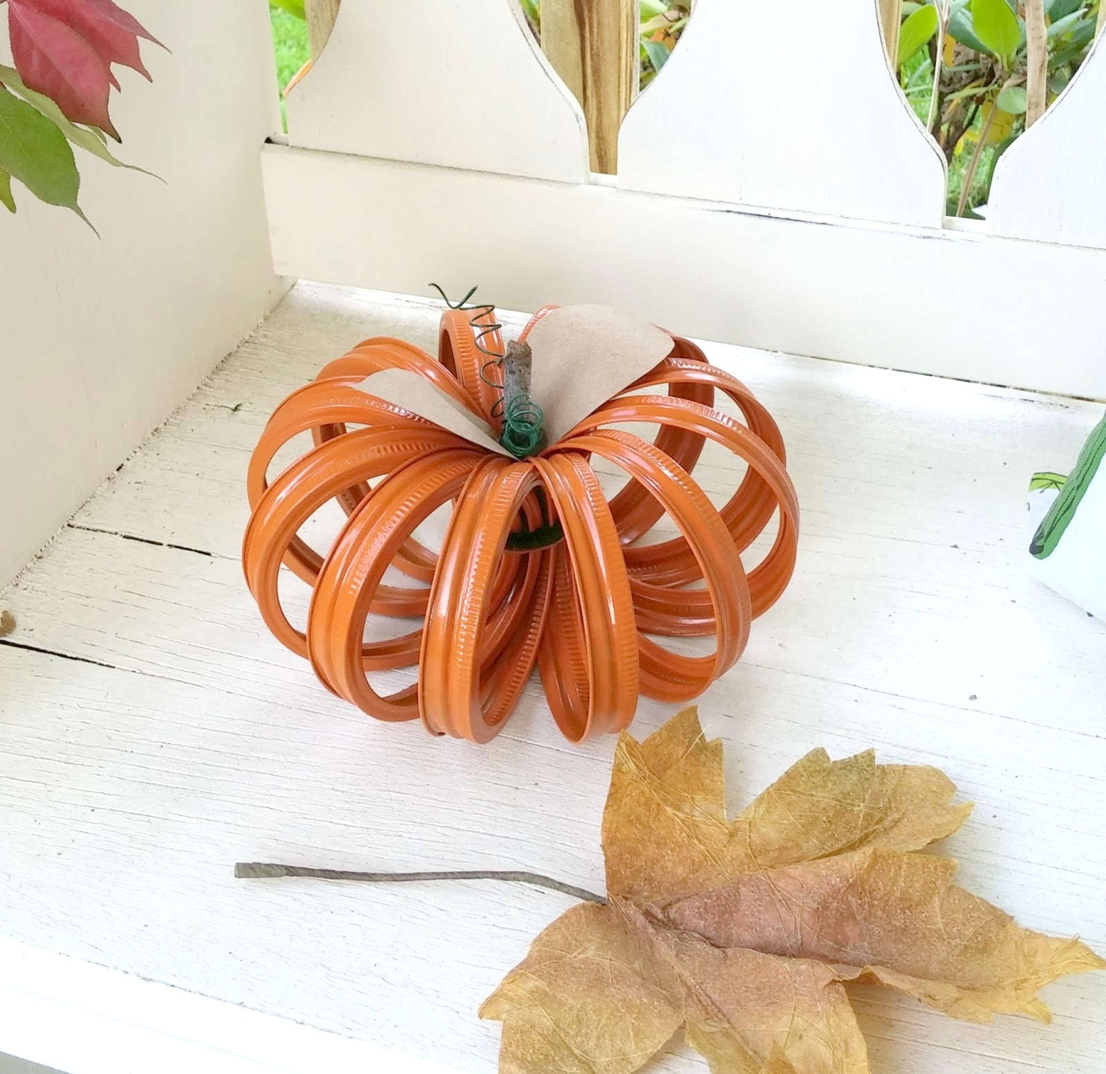 Canning jar ring fall pumpkin decor by Little Vintage Cottage , featured on Funky Junk Interiors