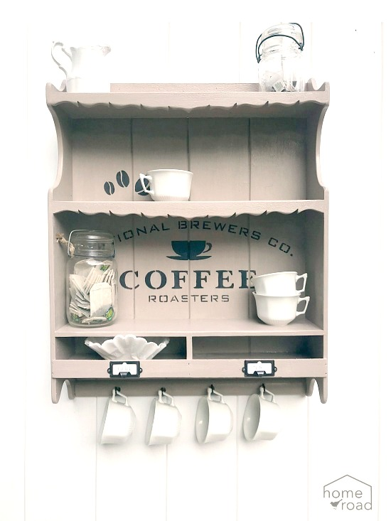 Wall shelf coffee station by Homeroad, featured on Funky Junk Interiors