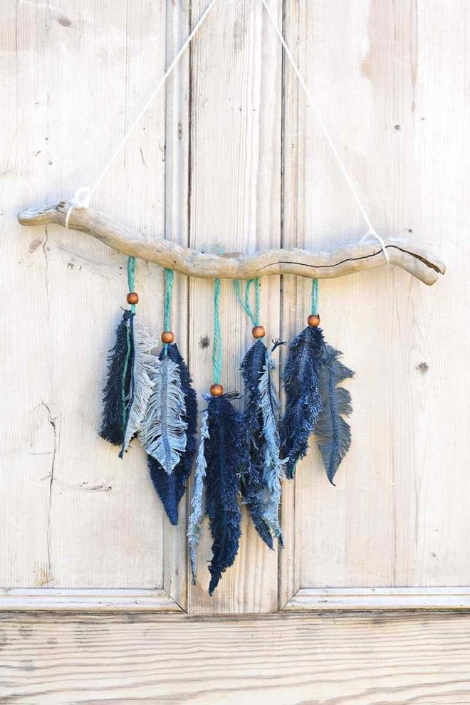 Denim feathers and branch wall decor by Pillar Box Blue, featured on Funky Junk Interiors