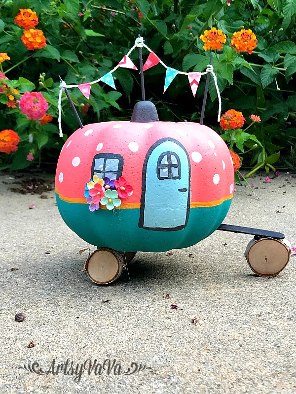 Happy camper painted faux pumpkin by Artsy Vava, featured on Funky Junk Interiors