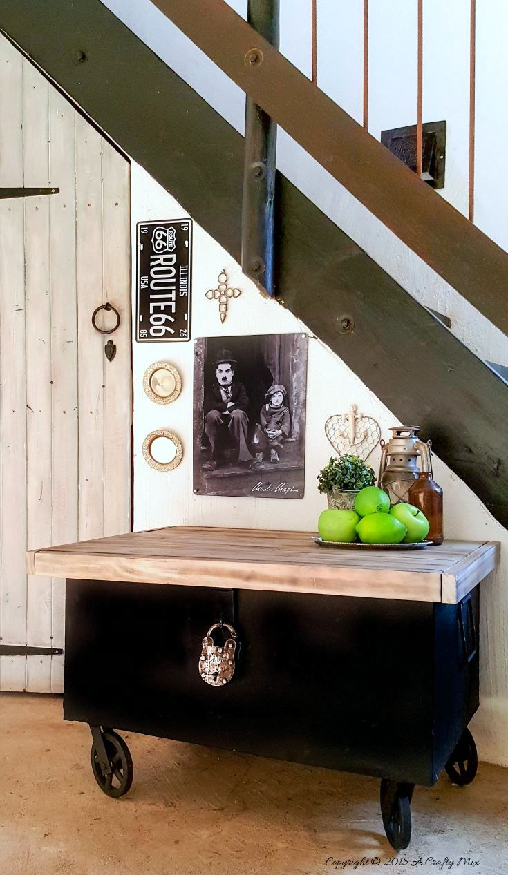Industrial toolbox storage cart by A Crafty Mix, featured on Funky Junk Interiors