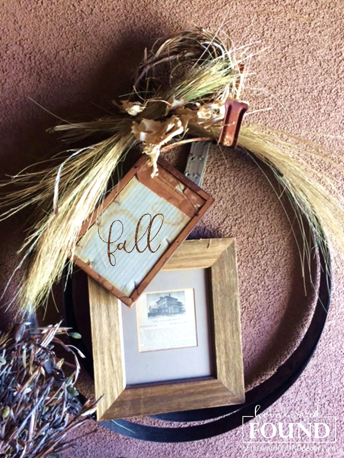 Barrel ring junk fall wreath by Homeward Found, featured on Funky Junk Interiors