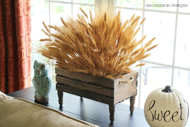 DIY wheat in a crate centrepiece by Uncommon Designs, featured on Funky Junk Interiors