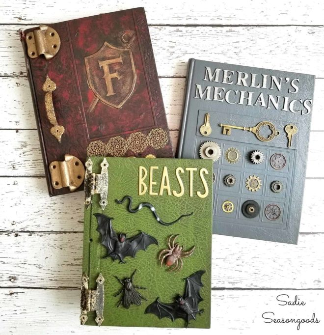 From yearbooks to 3D Halloween spell books by Sadie Seasongoods, featured on Funky Junk Interiors