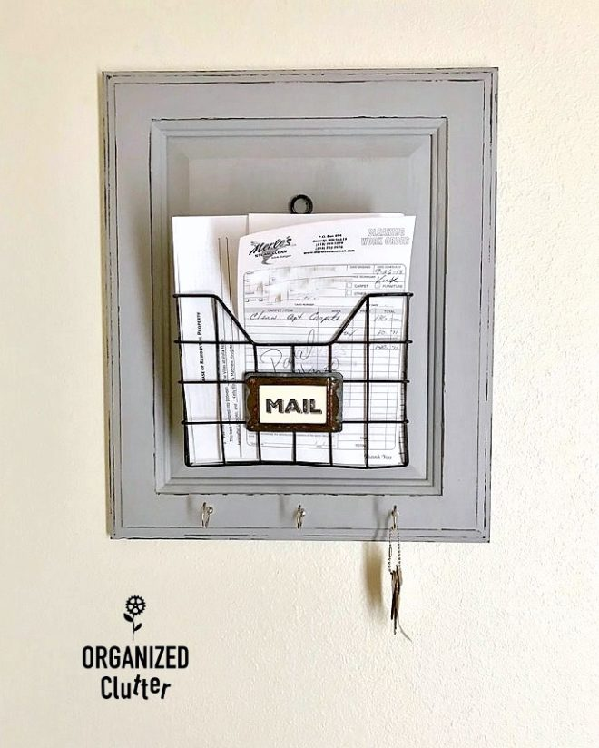 Cupboard door mail sorter and key organizer by Organized Clutter, featured on Funky Junk Interiors