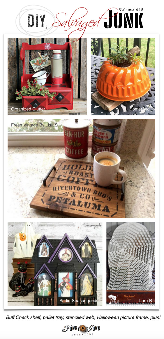 DIY Salvaged Junk Projects 448 - Buff Check shelf, pallet tray, stenciled web, Halloween picture frame, plus! Features and NEW junk projects!