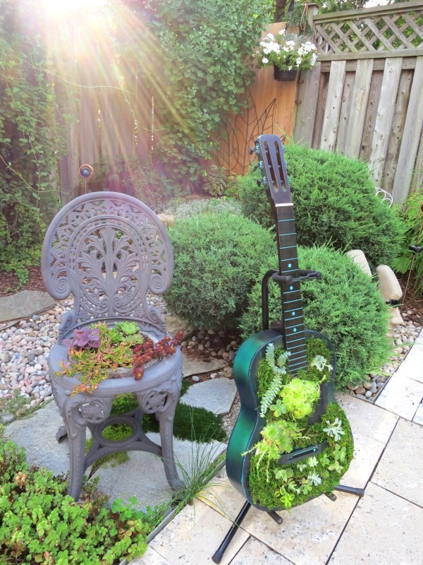 Guitar succulent planter by Birdz of a Feather, featured on Funky Junk Interiors