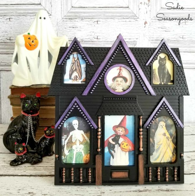 Upcycled picture frame turned haunted house by Sadie Seasongoods, featured on Funky Junk Interiors