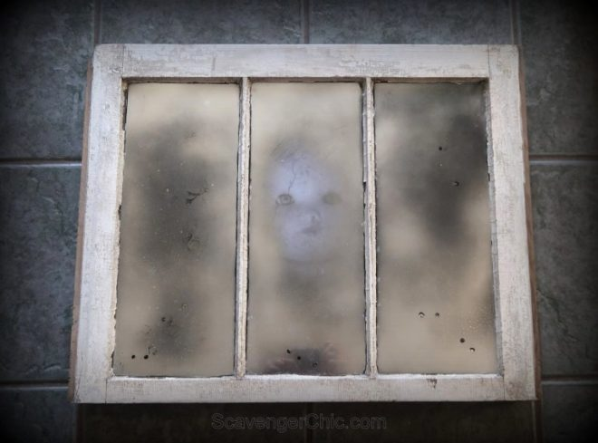 Mercury glass spooky window by Scavenger Chic, featured on Funky Junk Interiors