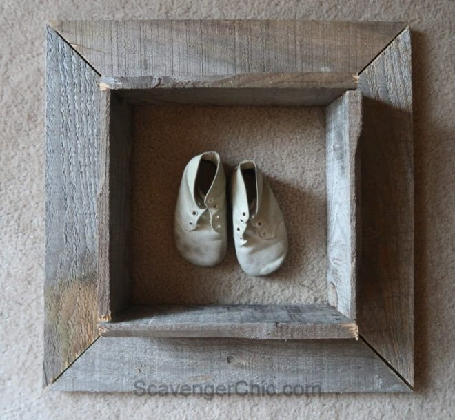 Pallet wood shadow box frame by Scavenger Chic, featured on Funky Junk Interiors