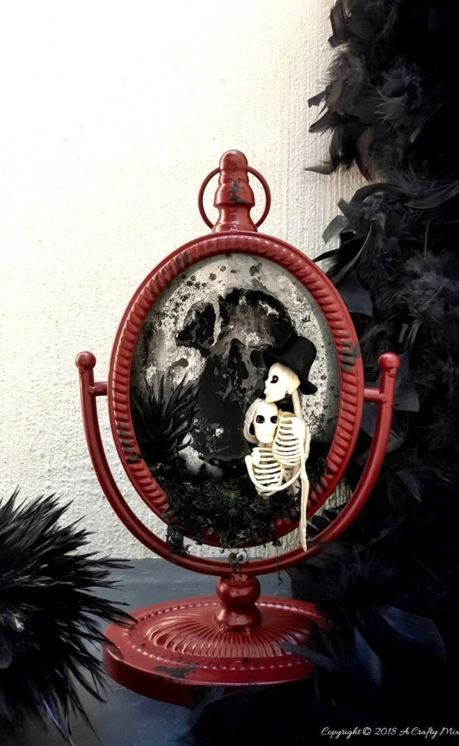 Halloween skeleton couple by A Crafty Mix, featured on Funky Junk Interiors