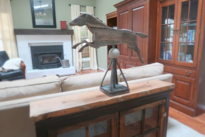 Car jack horse weathervane by Scavenger Chic, featured on Funky Junk Interiors