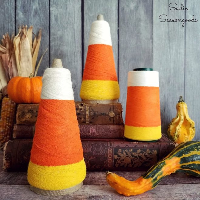Candy corn Halloween or fall thread decor by Sadie Seasongoods, featured on Funky Junk Interiors