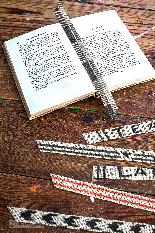Burlap ribbon bookmarks stenciled with Funky Junk's Old Sign Stencils and Fusion Mineral Paint. Grain Sack Stripes, Buffalo Check, Houndstooth and more!