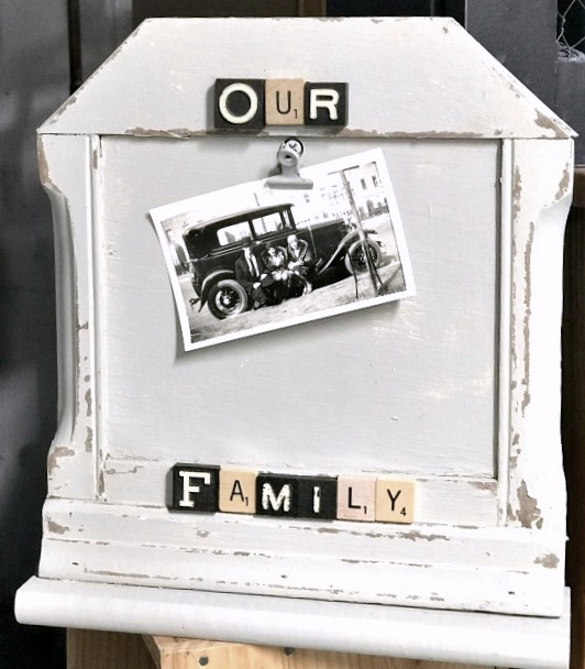 Chippy picture frame with scrabble tile messages by Homeroad, featured on Funky Junk Interiors