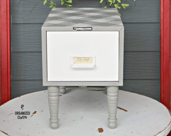 Buffalo Checked metal card file side table by Organized Clutter, featured on Funky Junk Interiors