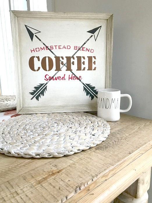 Rustic coffee arrow sign with aging technique by Homeroad, featured on Funky Junk Interiors
