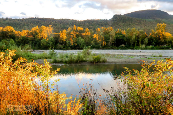 A brilliant and dramatic golden hour moment along Vedder River at Vedder River Rotary Trail in Chilliwack, BC Canada