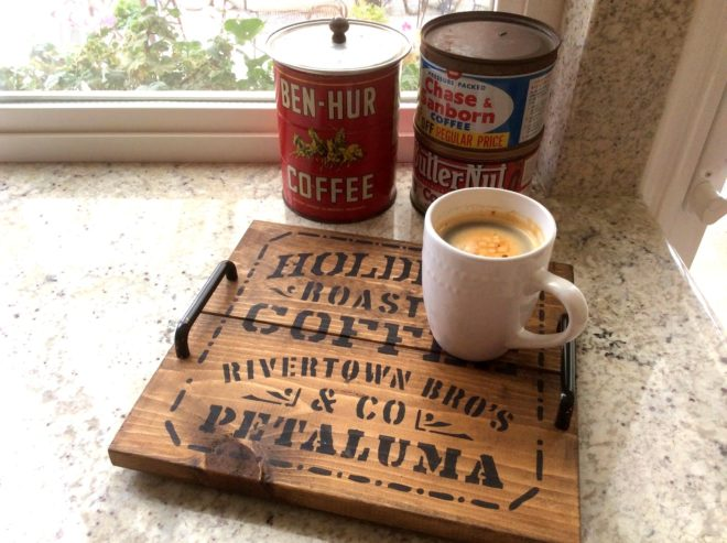 Rustic pallet wood coffee tray by Fresh Vintage by Lisa S, featured on Funky Junk Interiors