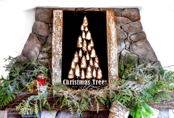 Illuminated Christmas Trees mantel sign